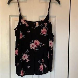 Ladies tank top black with pink and blue floral